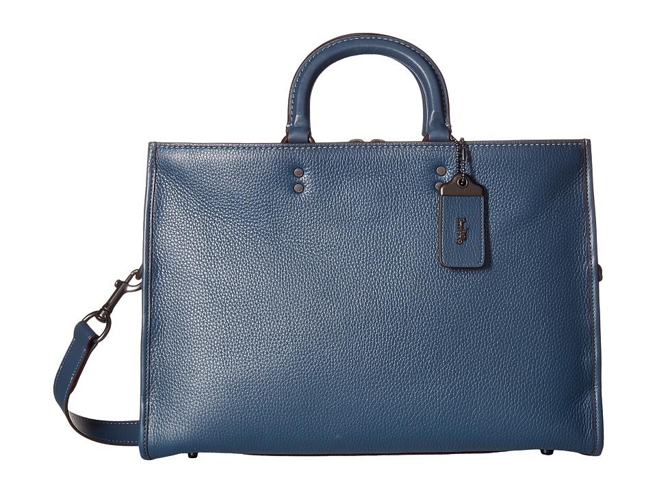 COACH - Rouge Brief in Glovetan Leather (Dark Denim) Briefcase Bags