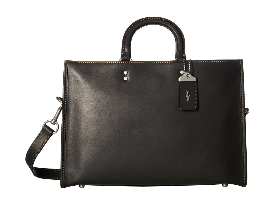 COACH - Rouge Brief in Glovetan Leather (Black) Briefcase Bags