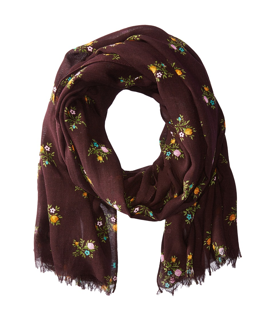 COACH - All Over Rose Buddies Oblong Scarf (Oxblood) Scarves