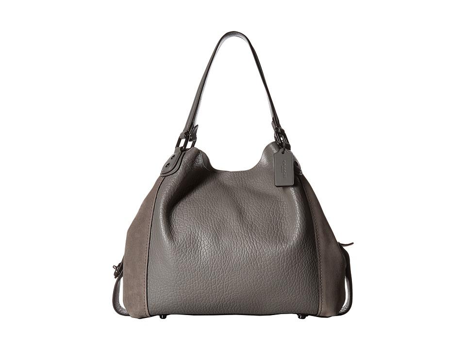 COACH - Mixed Leather Edie 42 (Dk/Heather Grey) Handbags