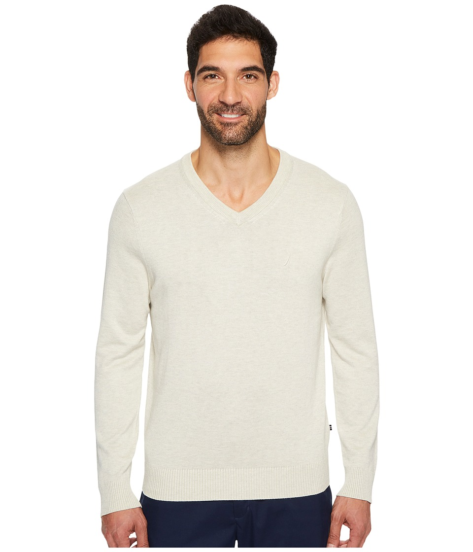 Nautica 12GG V-Neck Sweater (Oatmeal Heather) Men