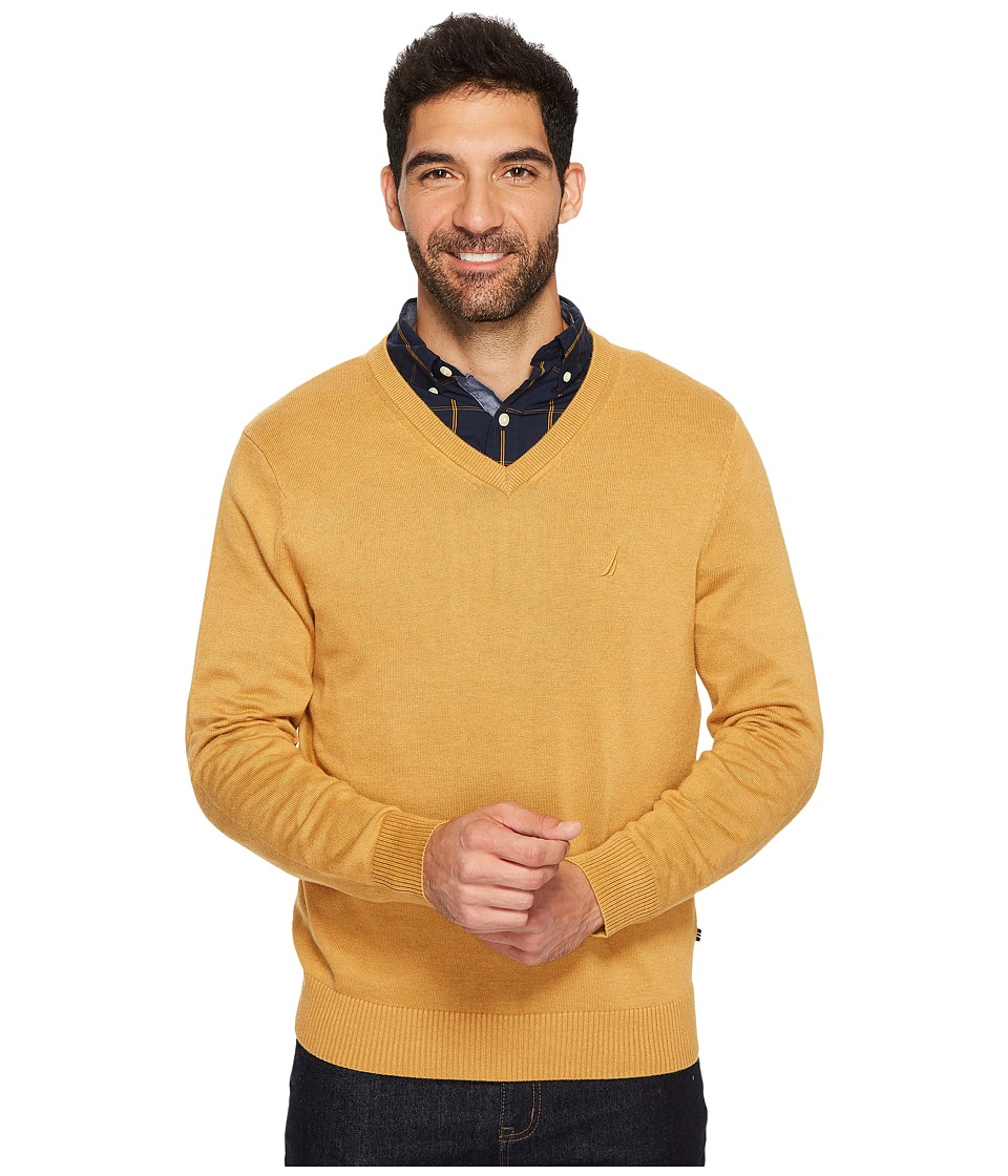 Nautica 12GG V-Neck Sweater (Caramel Heather) Men