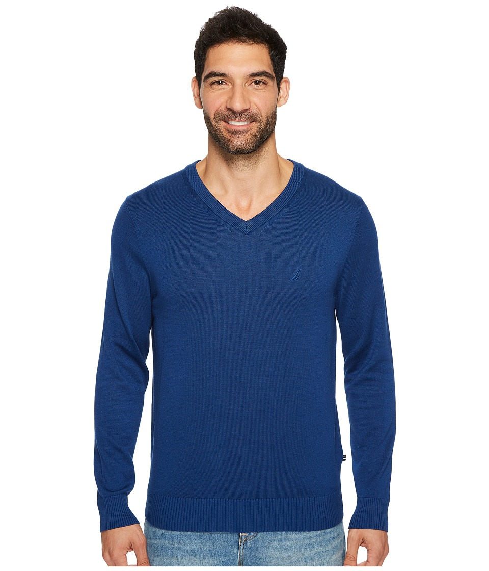 Nautica 12GG V-Neck Sweater (Estate Blue) Men