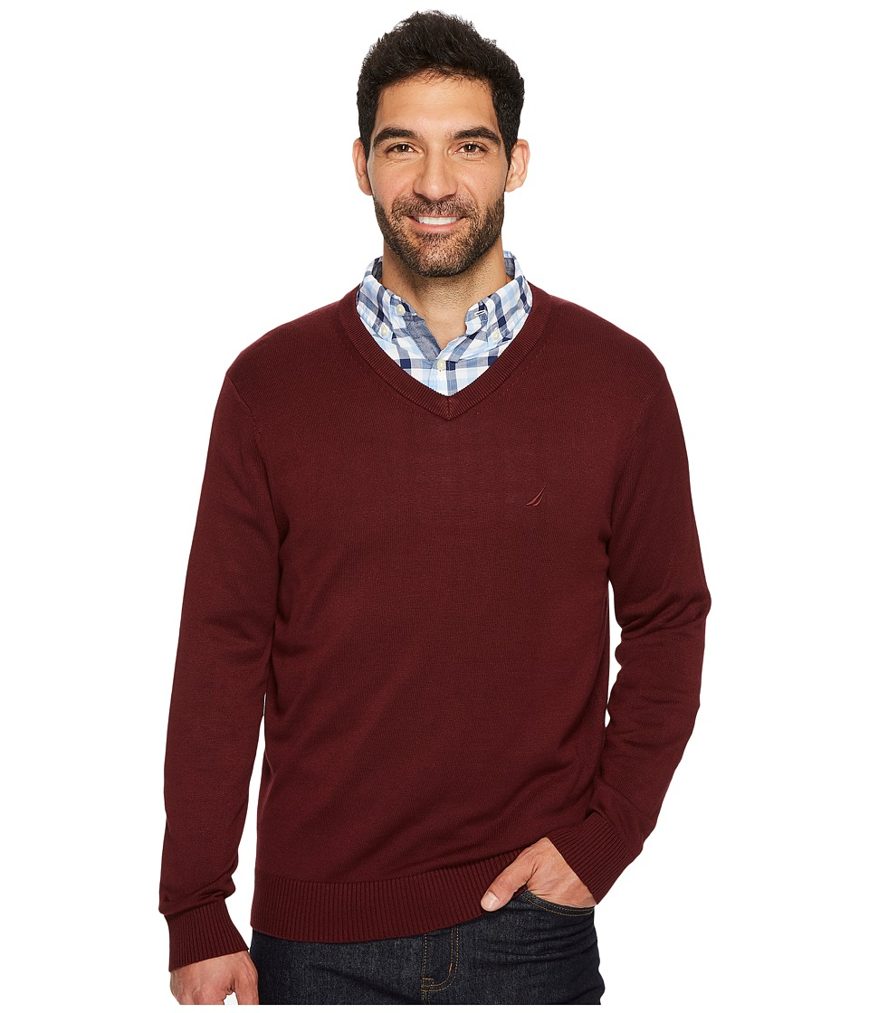 Nautica 12GG V-Neck Sweater (Royal Burgundy) Men