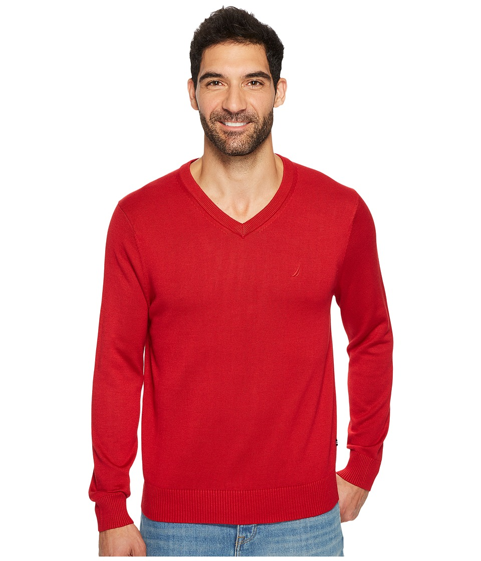 Nautica 12GG V-Neck Sweater (Nautical Red) Men