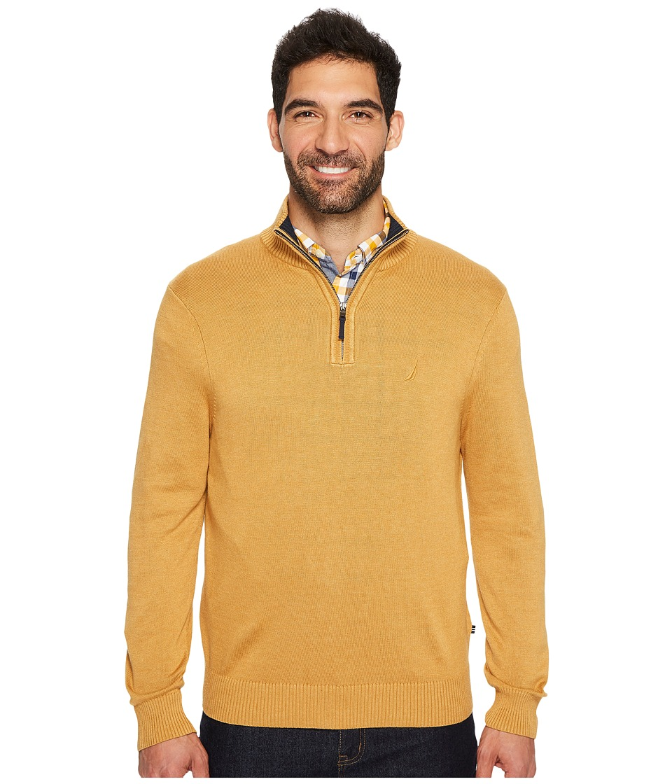 Nautica 12GG 1/4 Zip Jersey (Caramel Heather) Men