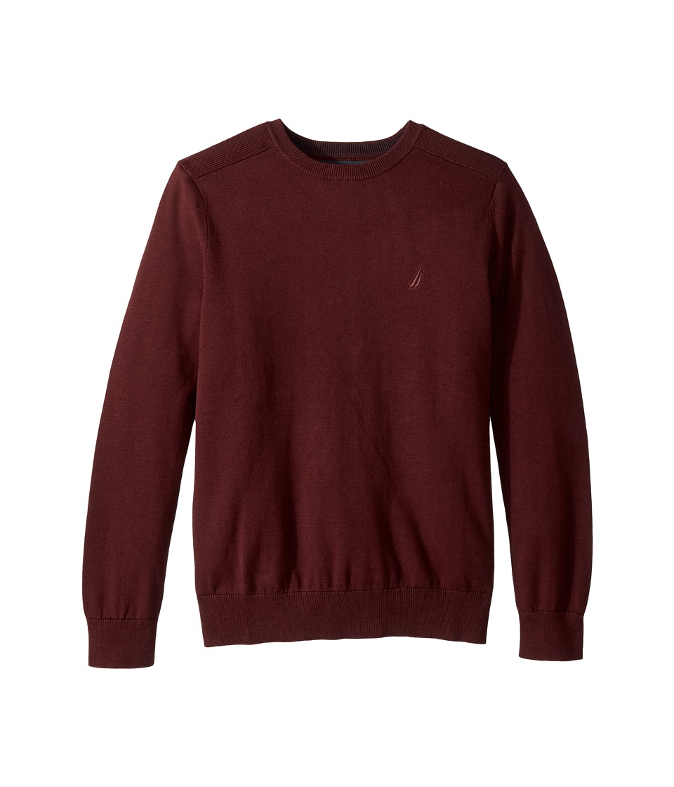 Nautica Solid Crew Neck Sweater (Royal Burgundy) Men