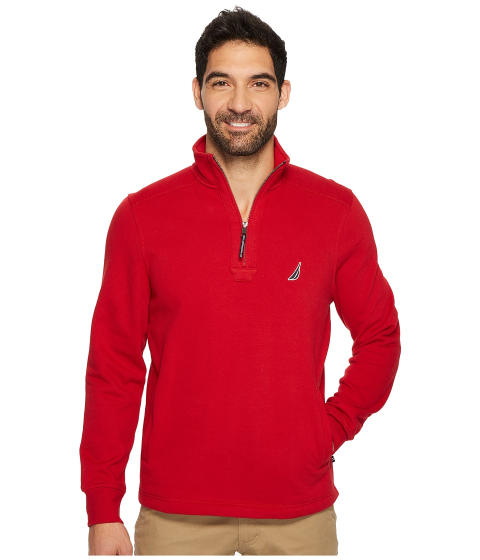 Nautica Long Sleeve 1/4 Zip Sweater (Nautical Red) Men