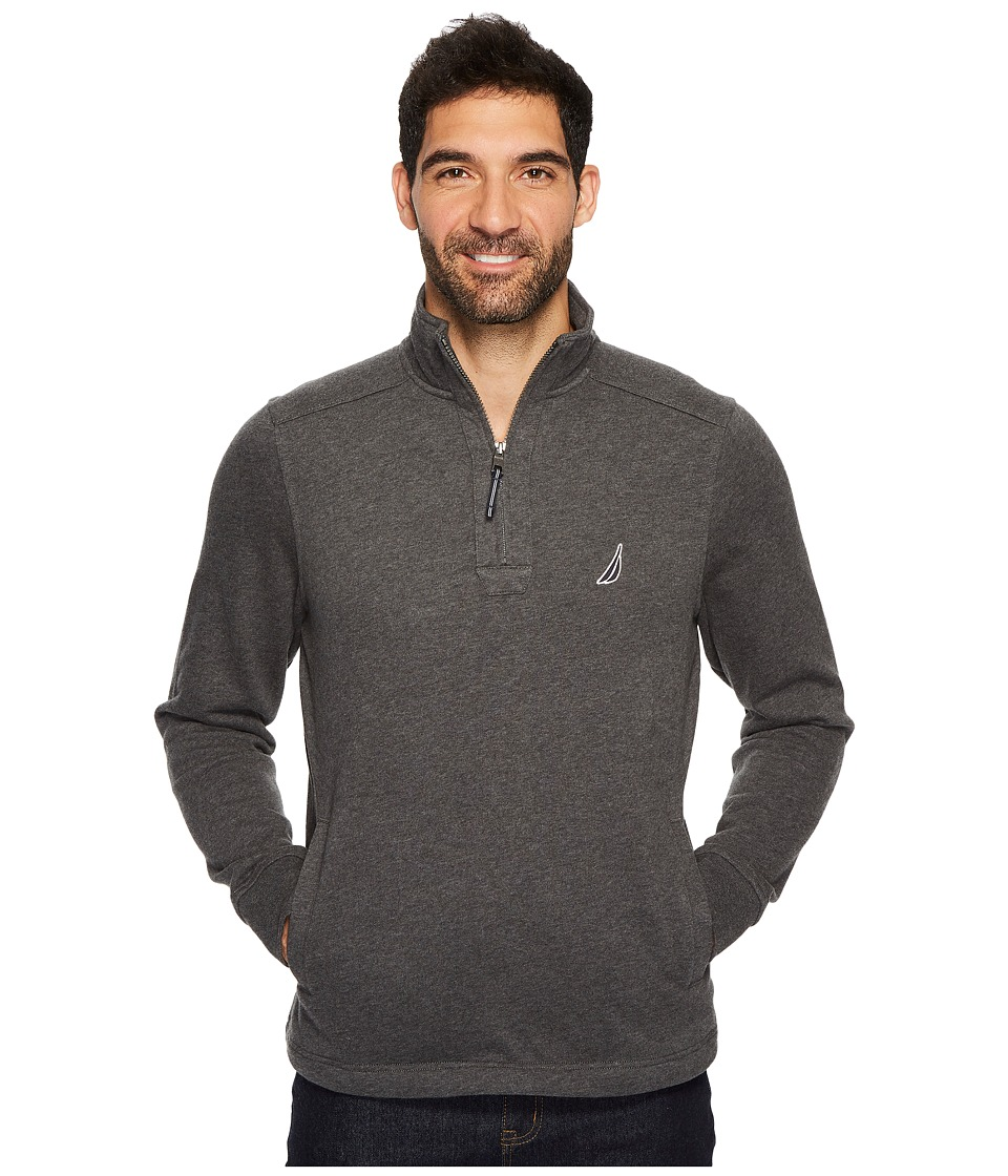 Nautica Long Sleeve 1/4 Zip Sweater (Charcoal Heather) Men