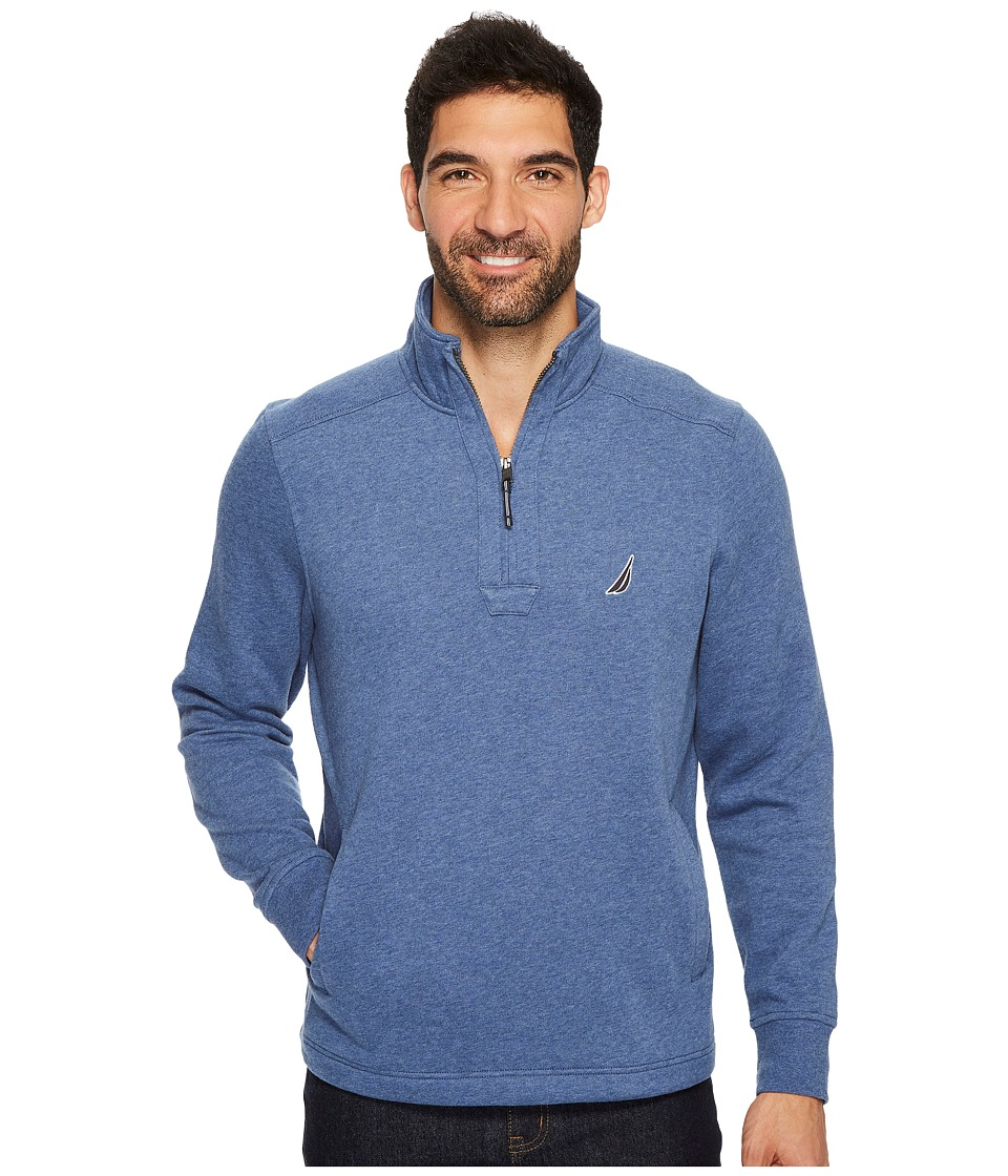 Nautica Long Sleeve 1/4 Zip Sweater (Blue Indigo Heather) Men