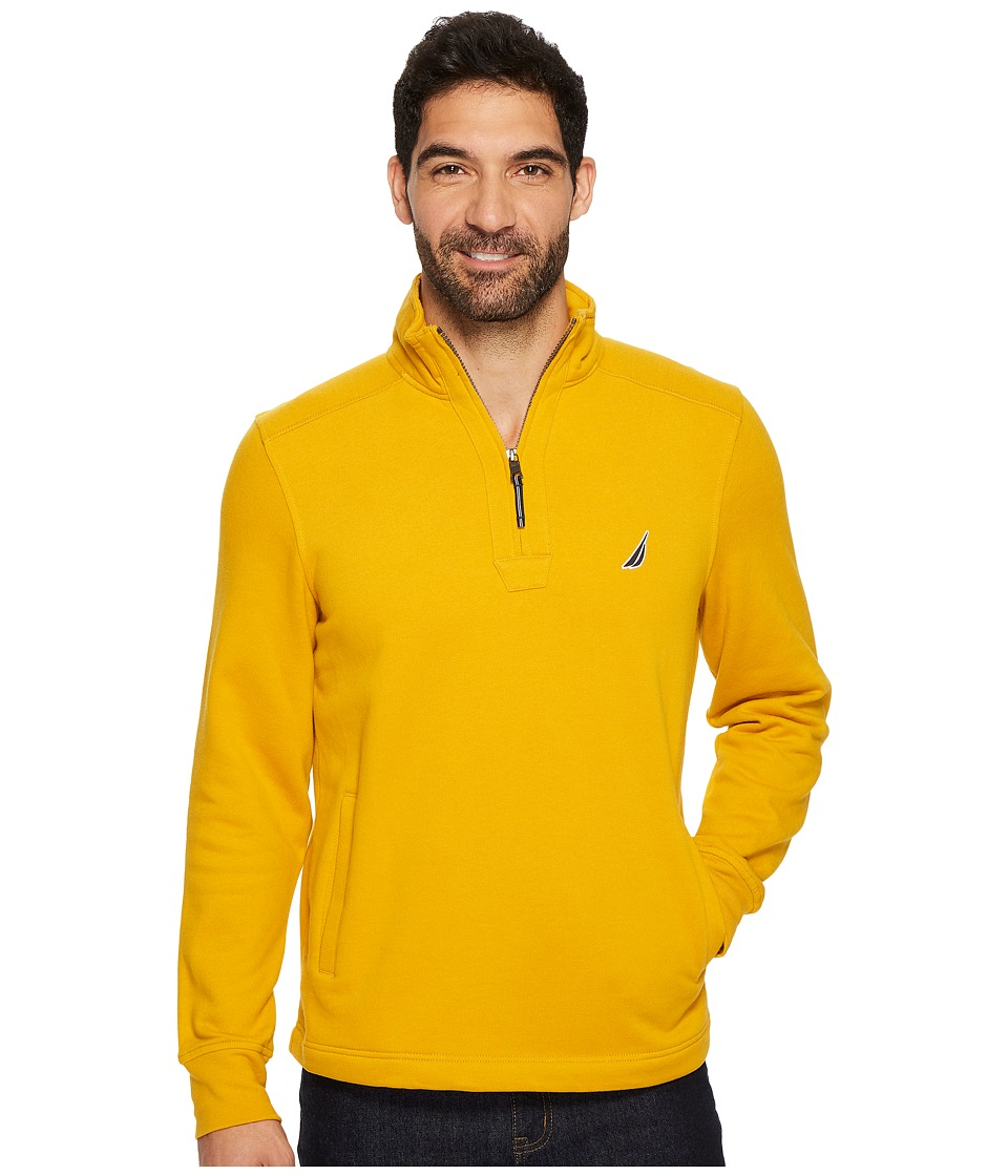 Nautica Long Sleeve 1/4 Zip Sweater (Yellow Gold) Men