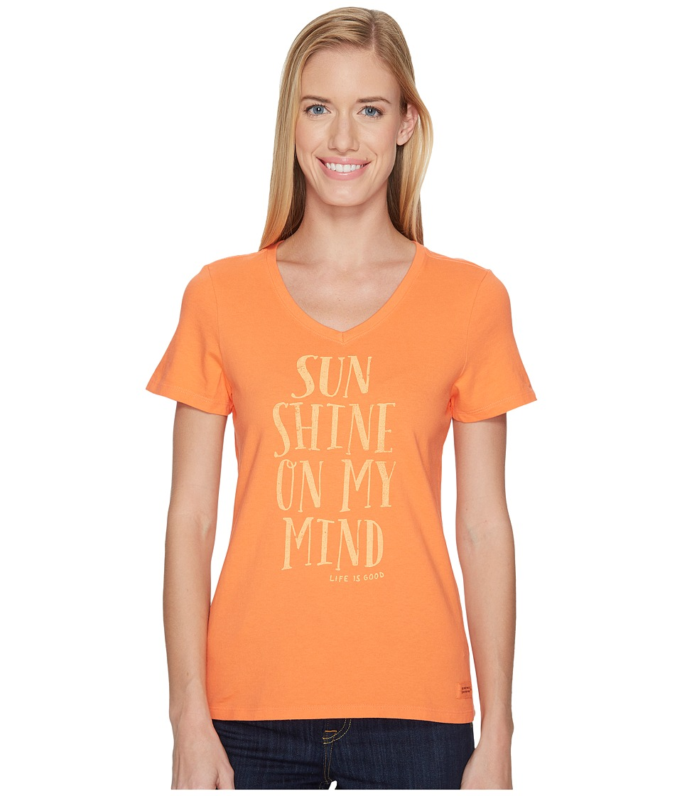 Life is Good Sunshine Mind Crusher Vee (Tropical Orange) Women