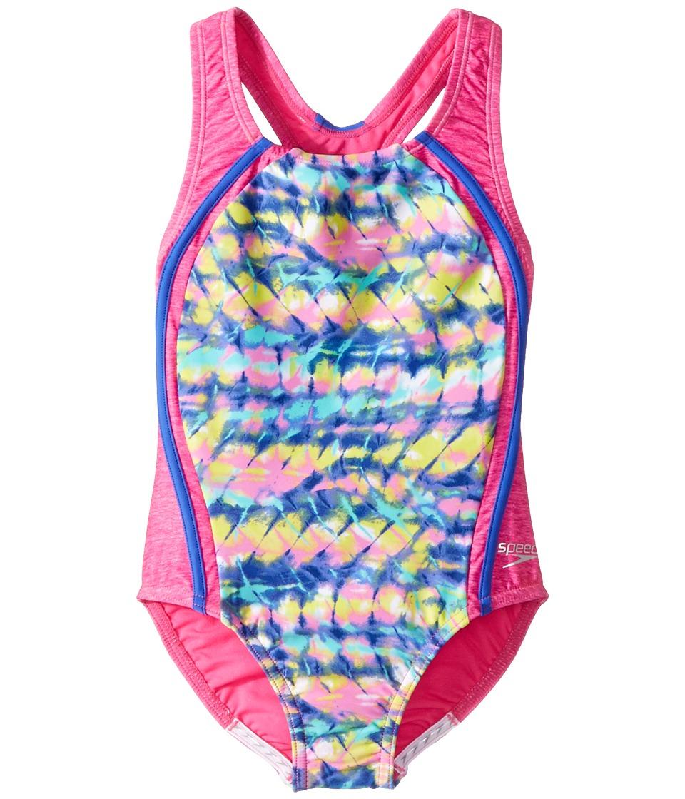 Speedo Kids Digi Zigzag Heather Sport Splice (Big Kids) (Pink) Girl