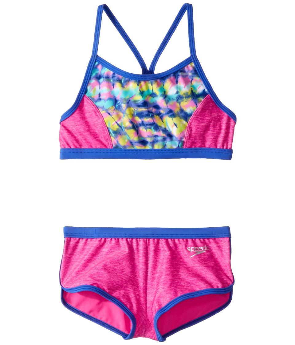 Speedo Kids Digi Zigzag Heather Two-Piece Boyshorts Swimsuit Set (Big Kids) (Pink) Girl