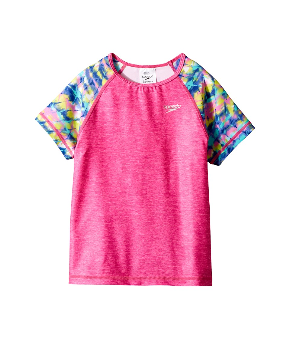 Speedo Kids Printed Short Sleeve Rashguard (Little Kids/Big Kids) (Bright Pink) Girl