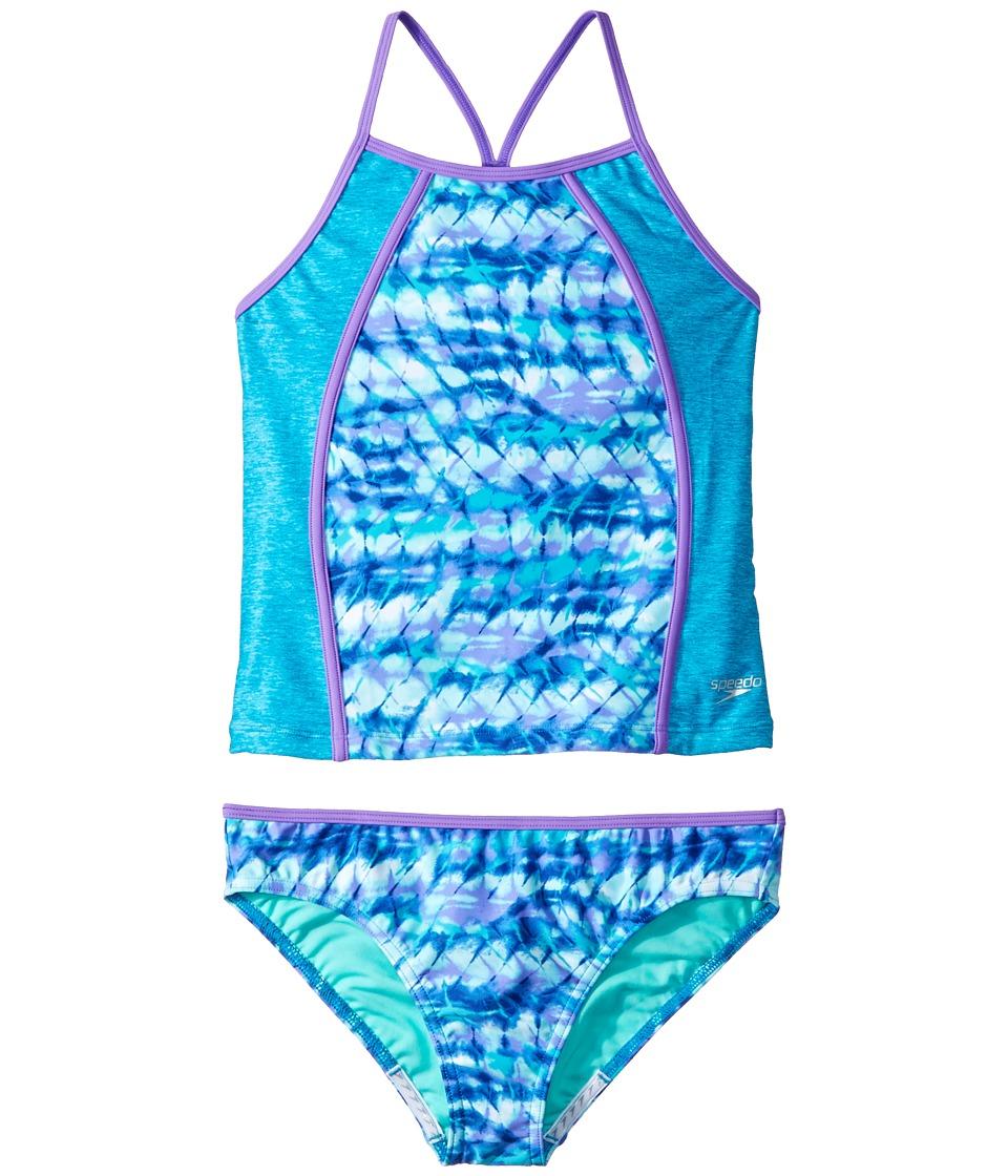 Speedo Kids Printed Heather Tankini Two-Piece (Big Kids) (Blue) Girl