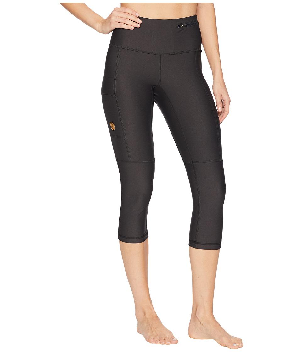 Fjallraven - Abisko Trek Tights 3/4 (Dark Grey) Womens Workout