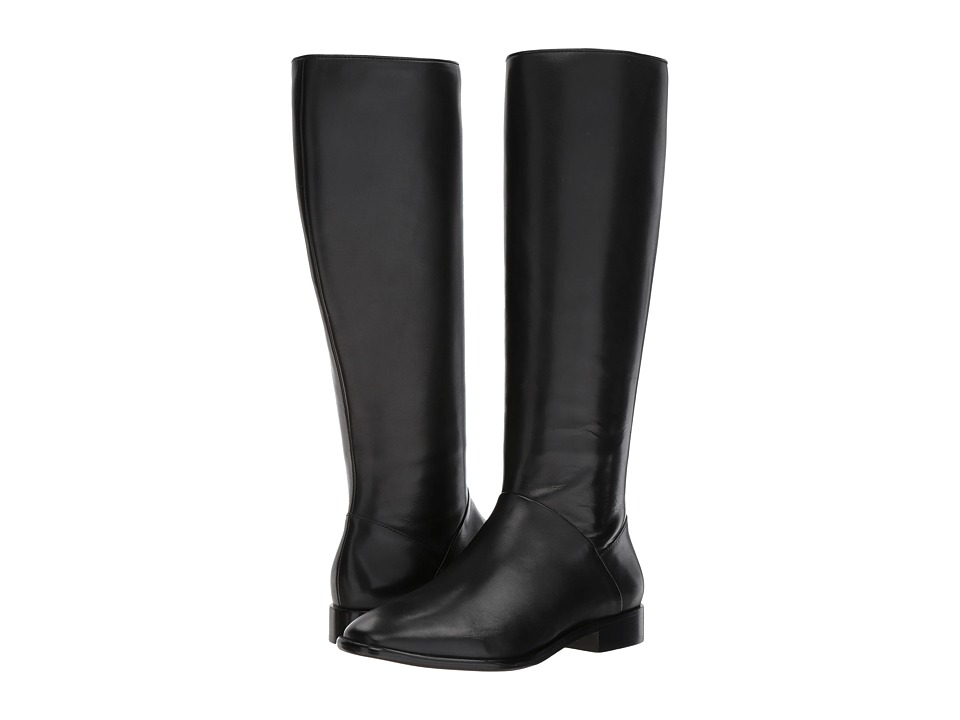 Donna Karan - Lee Knee-High Boot (Black Smooth Oil Calf) Womens Boots