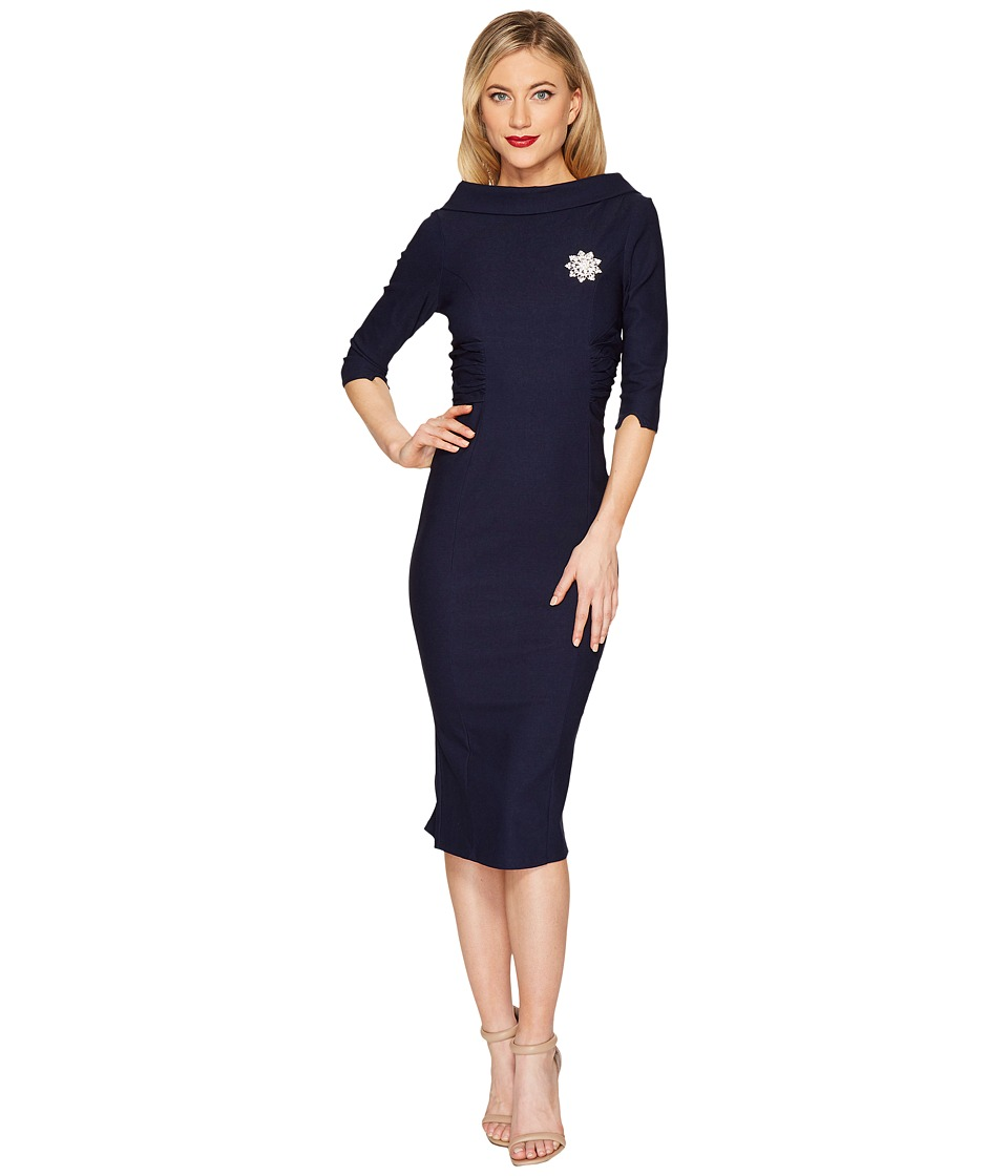 Unique Vintage Lucinda Fitted Dress (Navy) Women