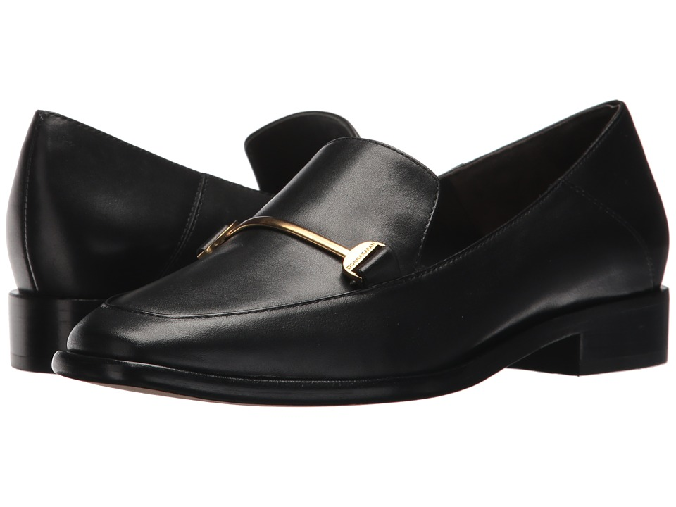 Donna Karan - Lois Loafer (Black Smooth Oil Calf) Womens Slip-on Dress Shoes