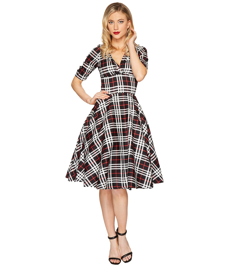 Unique Vintage Delores Swing Dress (Black/White Plaid) Women