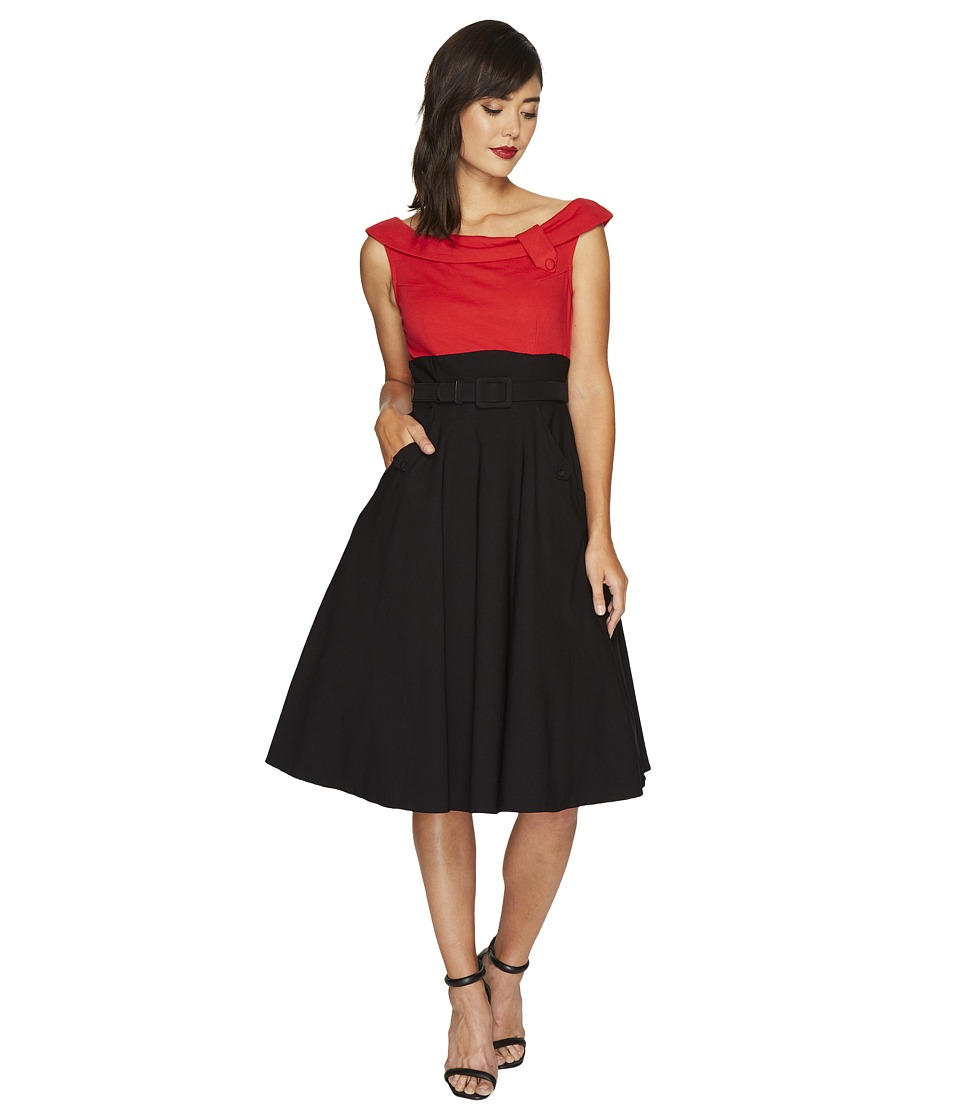 Unique Vintage Color Block Tippi Dress (Red/Black) Women