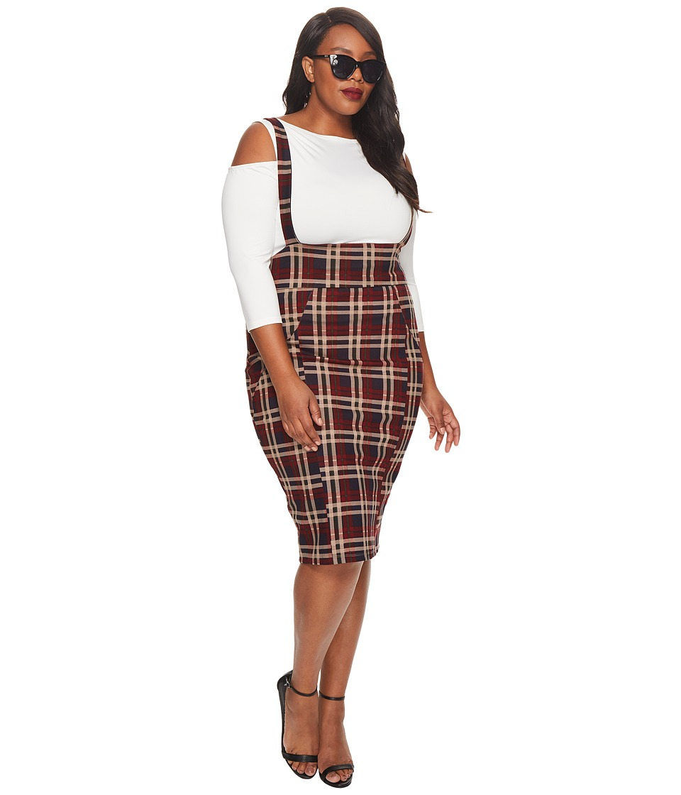 Unique Vintage Plus Size Sabrina Suspender Skirt (Burgundy Plaid) Women