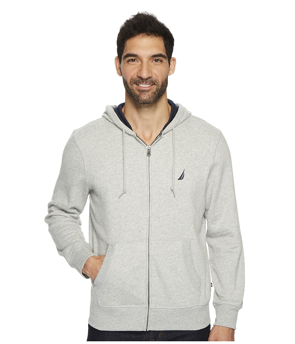 Nautica Long Sleeve Fleece Hoodie (Grey Heather) Men's Cl...
