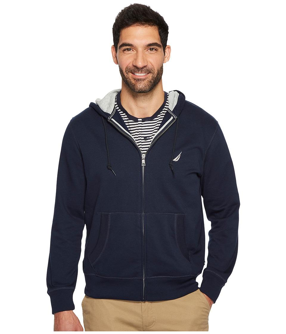 Nautica Long Sleeve Fleece Hoodie (Navy) Men's Clothing