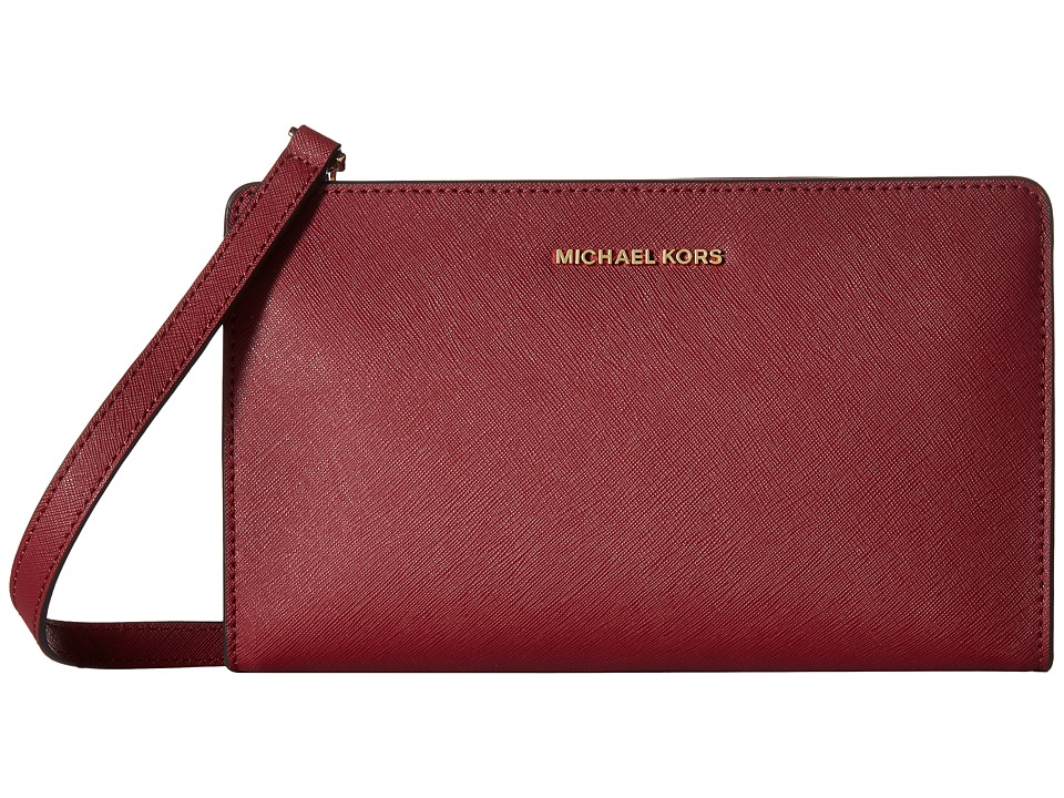 MICHAEL Michael Kors Jet Set Travel Large Crossbody Clutch (Mulberry) Clutch Handbags