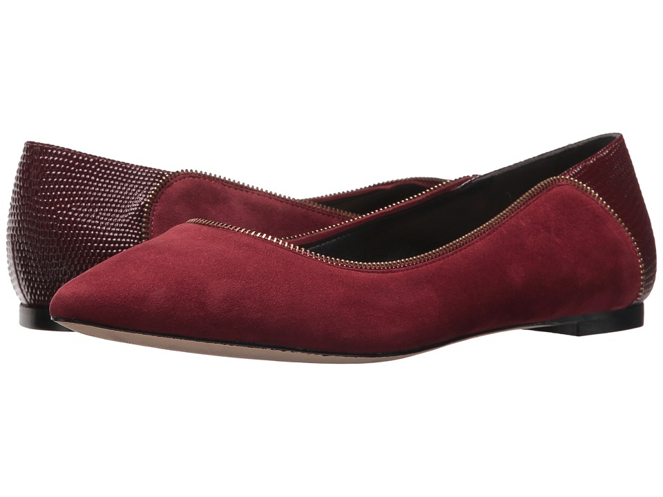 Donna Karan - Netta Flat (Oxblood Embossed Lizard) Womens Flat Shoes