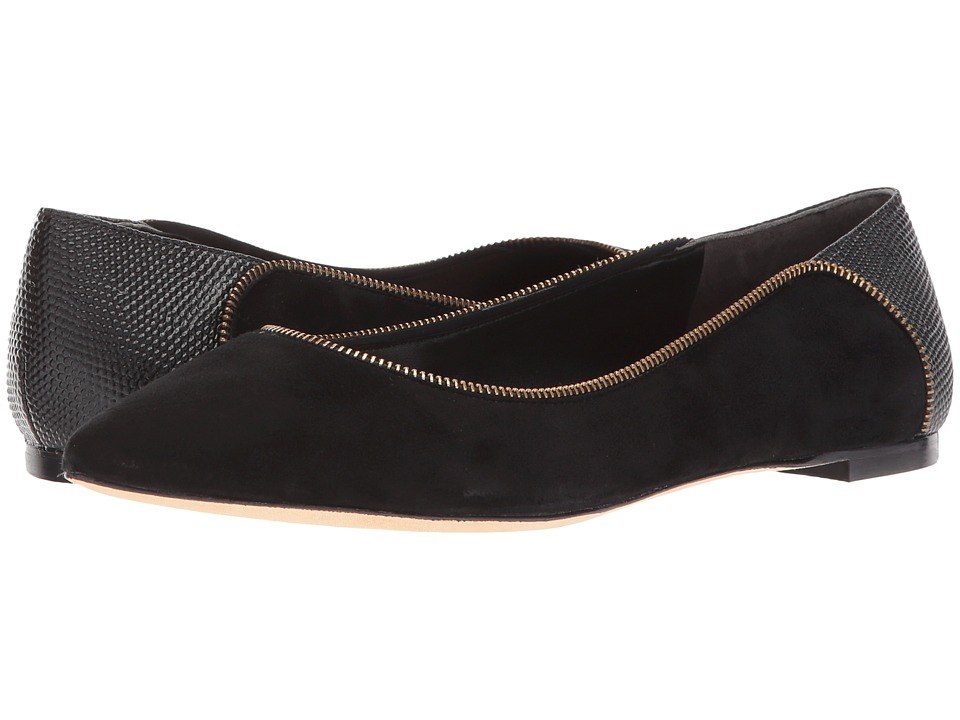 Donna Karan Netta Flat (Black Embossed Lizard) Women