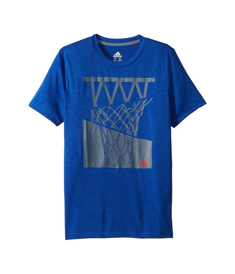 adidas Kids - Hacked Hoop Tee (Big Kids) (Medium Blue) Boys T Shirt