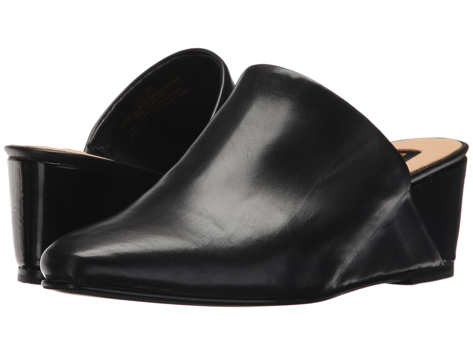 Donna Karan - Mercer Wedge Mule (Black Baby Calf/Patent) Womens Wedge Shoes