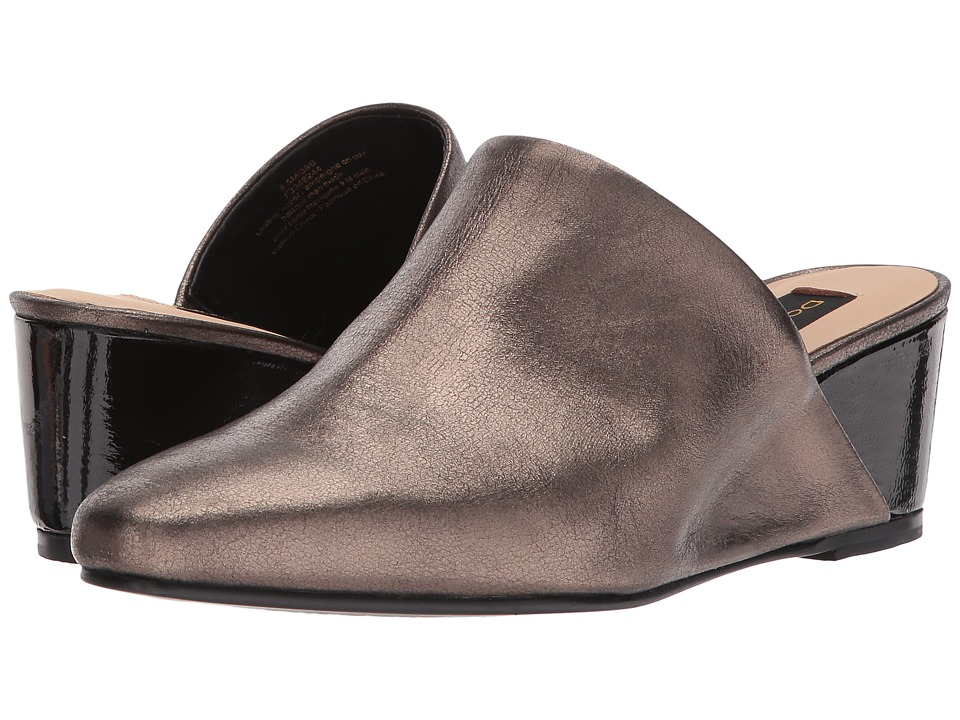 Donna Karan Mercer Wedge Mule (Pewter Heather/Black Metallic Leather/Patent) Women