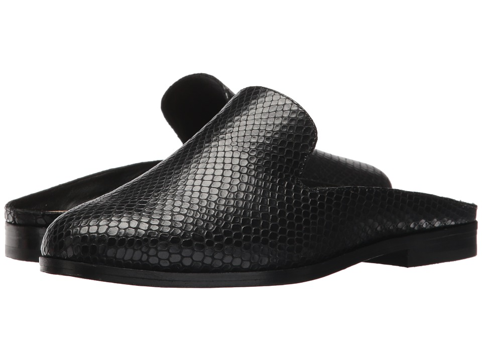 Donna Karan - Mott Mule (Black Embossed Snake Leather) Womens Clog/Mule Shoes