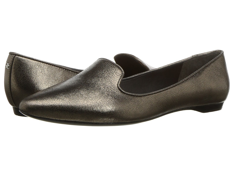Donna Karan - Gold Loafer (Pewter Crinkled Metallic) Womens Slip-on Dress Shoes