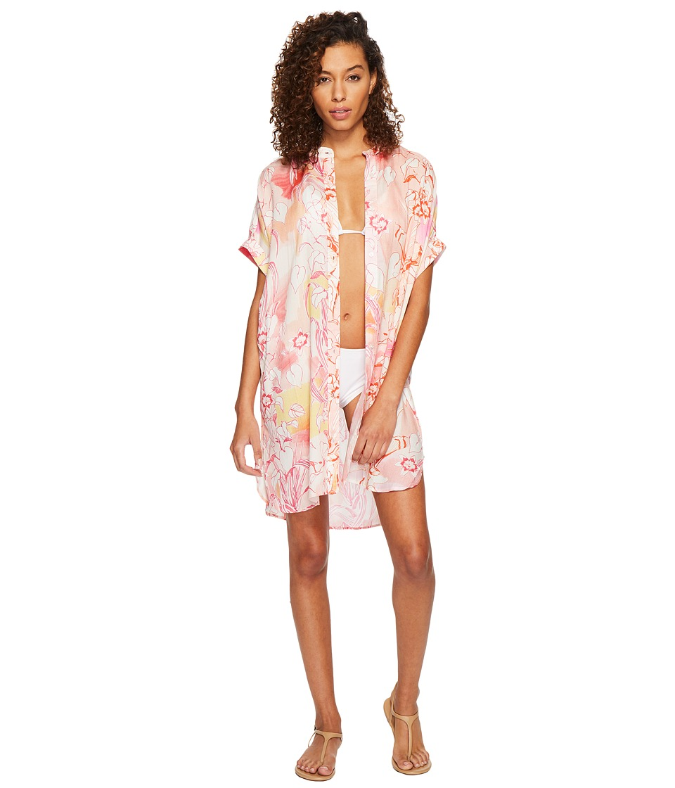 Echo Design Seaside Floral Shirtdress Cover-Up (Coral) Women