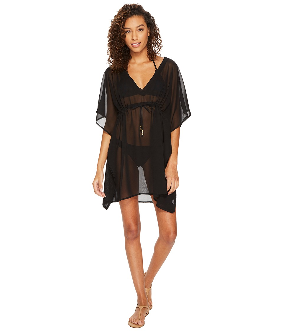 Echo Design Solid Silky Butterfly Swim Cover-Up (Black) Women