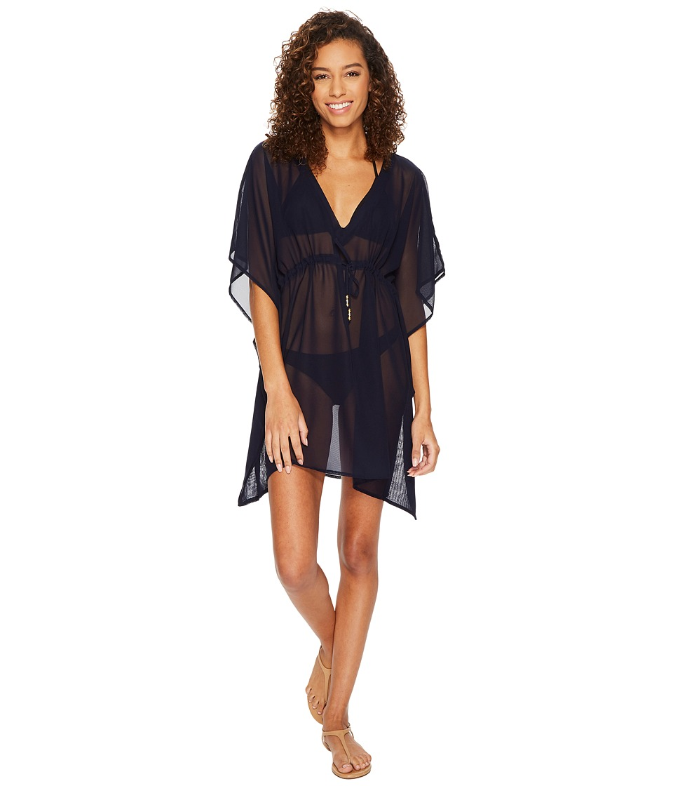 Echo Design Solid Silky Butterfly Swim Cover-Up (Navy) Women