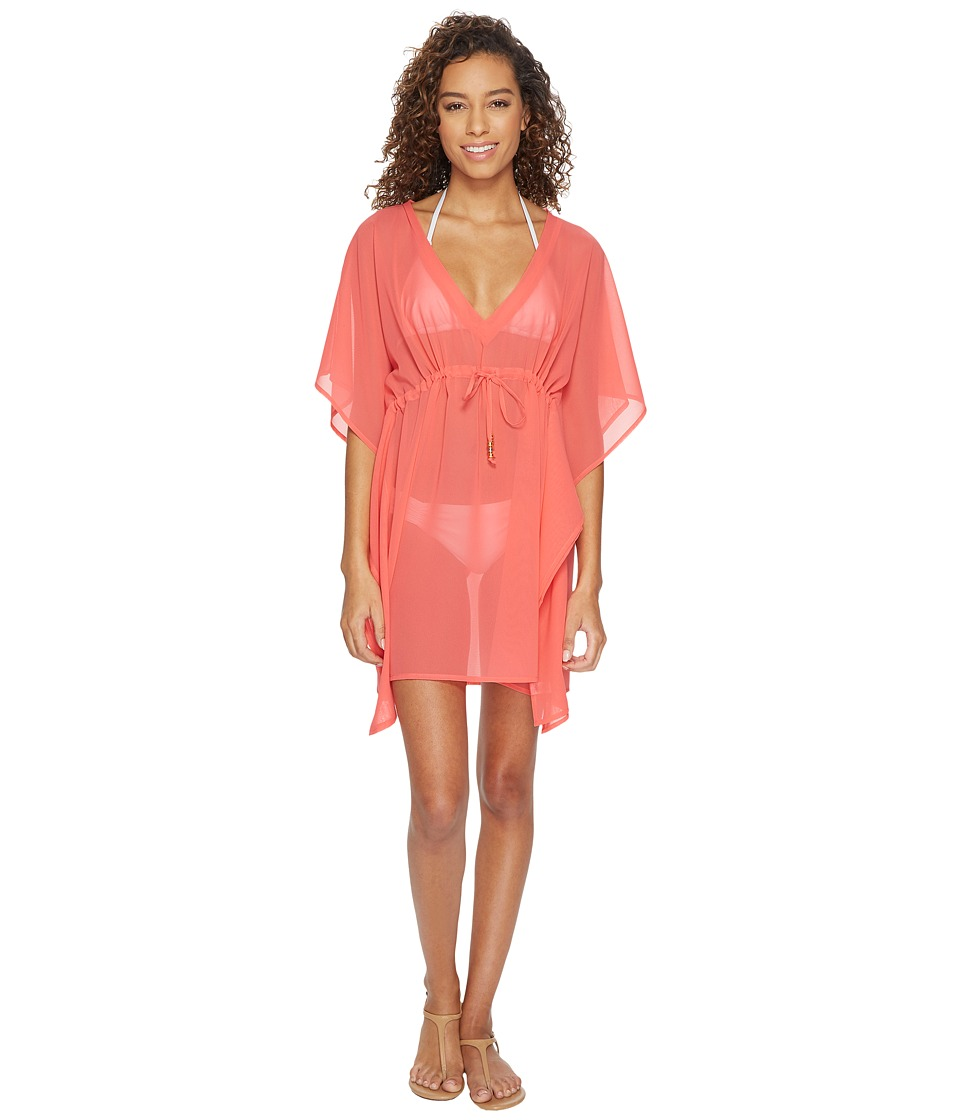 Echo Design Solid Silky Butterfly Swim Cover-Up (Coral) Women