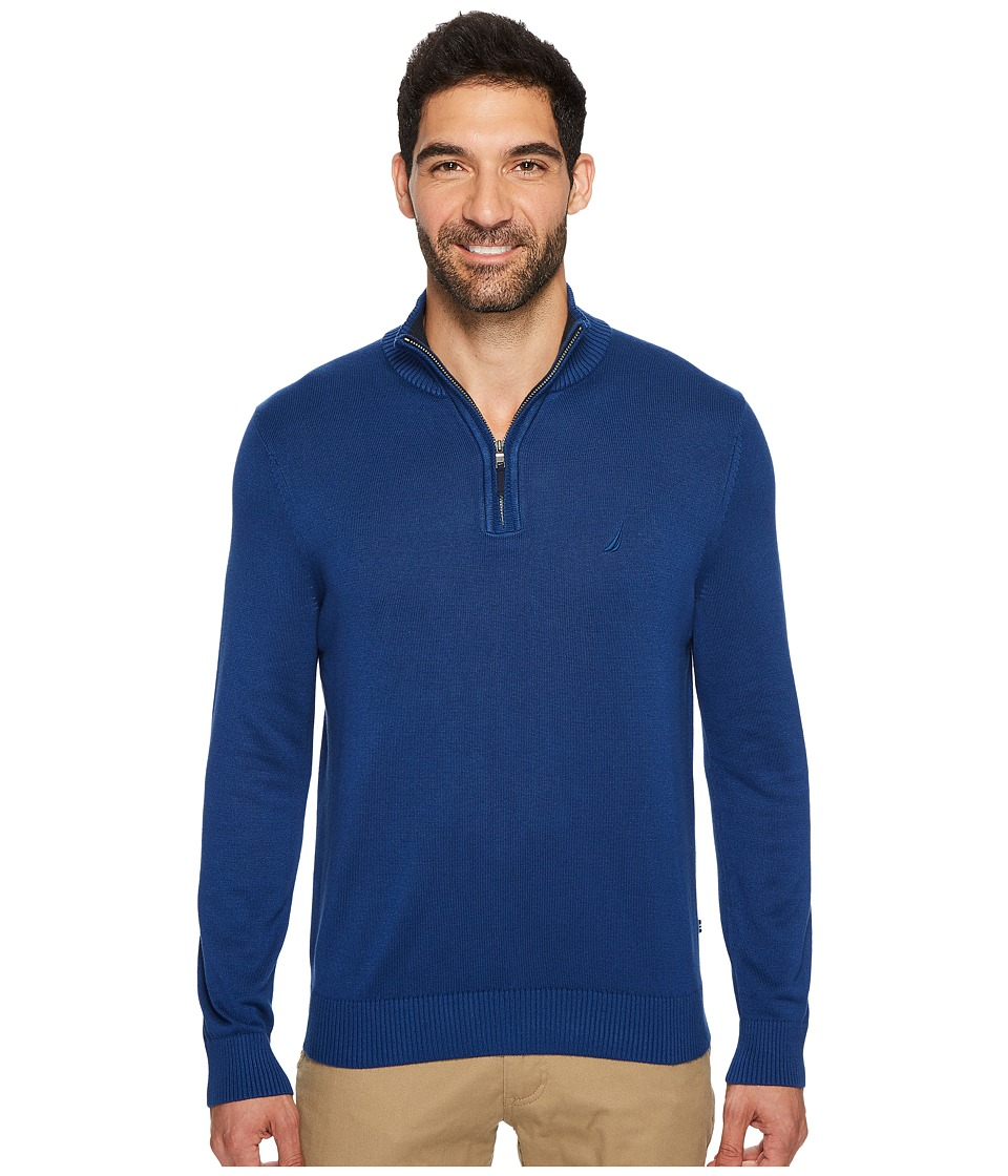 Nautica Long Sleeve 1/4 Zip Sweater (True Navy) Men
