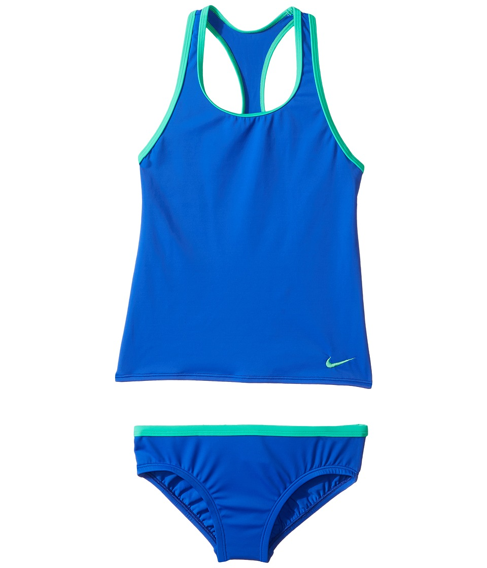 Nike Kids - Solid Racerback Sport Tankini Set (Little Kids/Big Kids) (Racer Blue) Girls Swimwear Sets