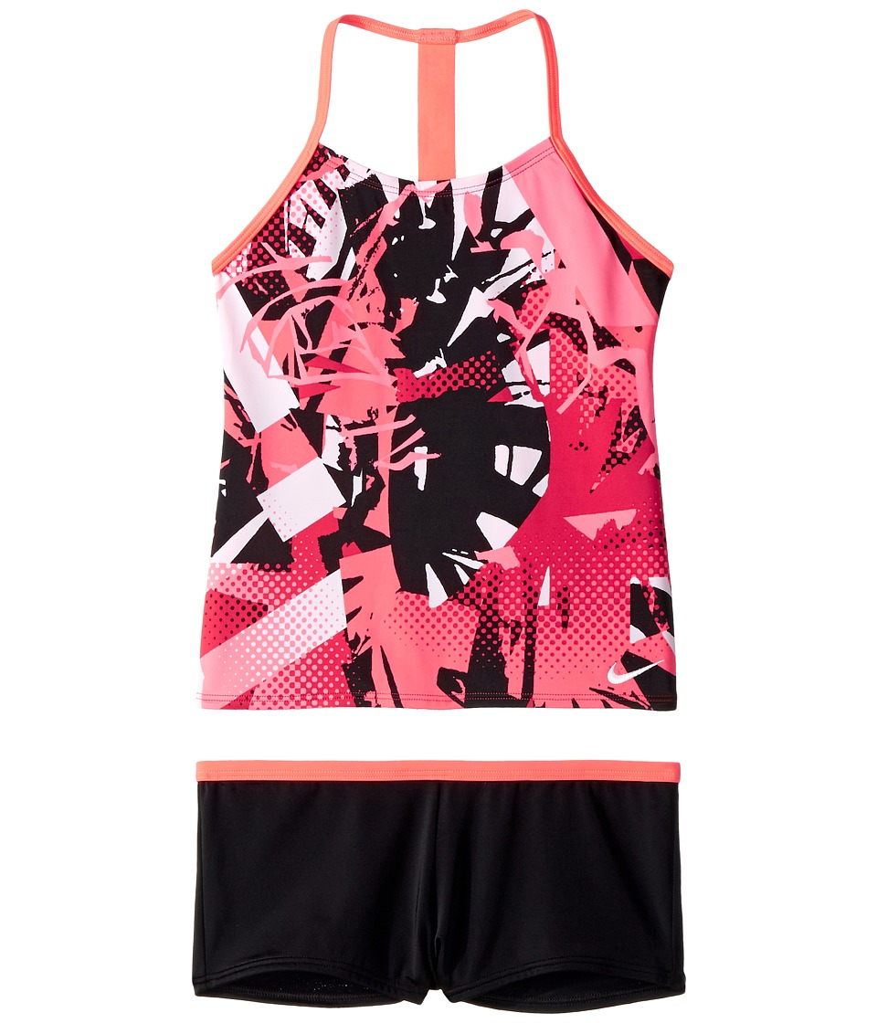 Nike Kids T-Back Tankini Set (Big Kids) (Tropical Pink) Girl