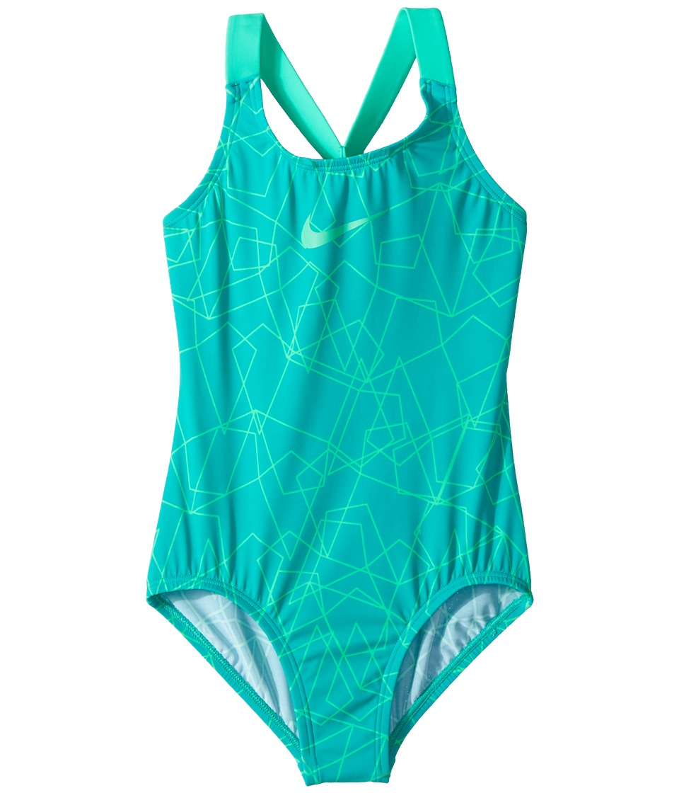 Nike Kids - Nova Flare Prism Crossback One-Piece (Little Kids/Big Kids) (Clear Emerald) Girls Swimsuits One Piece