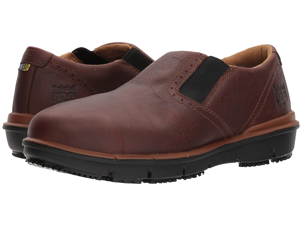 Timberland PRO - Boldon Slip-On Alloy Safety Toe SD (Brown Full Grain Leather) Mens Slip on  Shoes