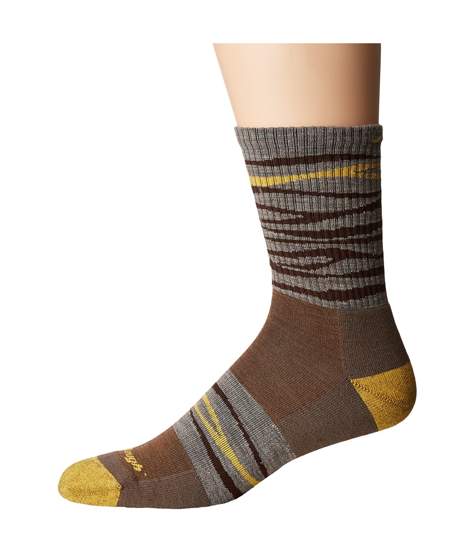 Darn Tough Vermont - Switchback Micro Crew Light Cushion Sock (Brown) Mens Crew Cut Socks Shoes