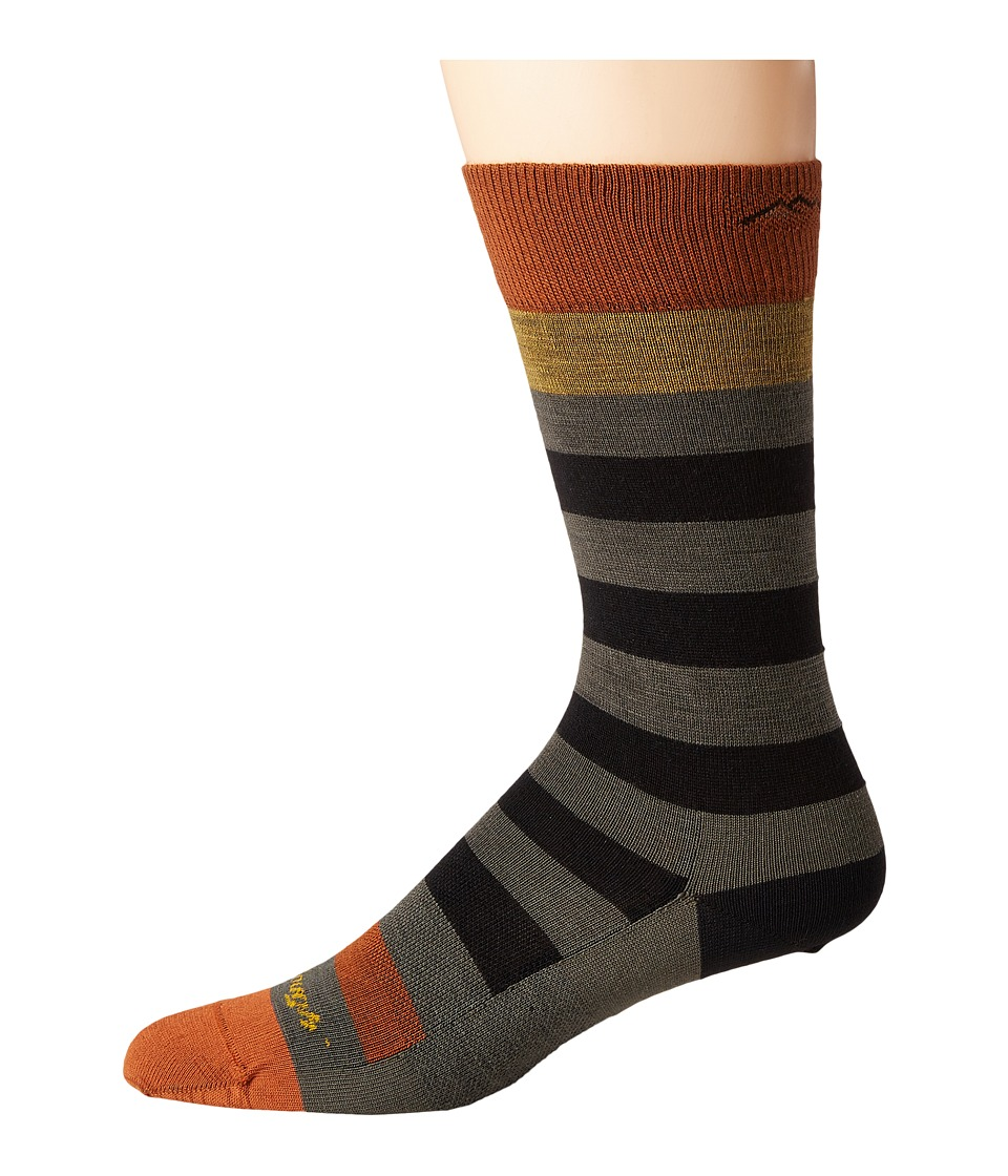 Darn Tough Vermont - Warlock Crew Light Socks (Black/Fatigue) Mens Crew Cut Socks Shoes