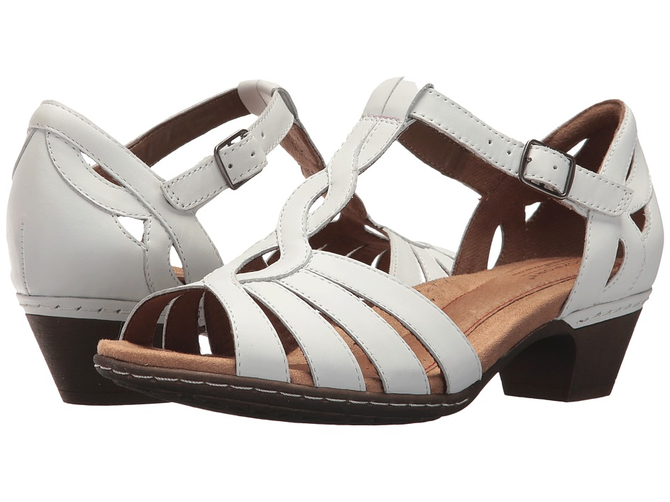 Vintage Style Shoes, Vintage Inspired Shoes Rockport Cobb Hill Collection - Cobb Hill Abbott Curvy T-Strap White Leather Womens Shoes $109.95 AT vintagedancer.com