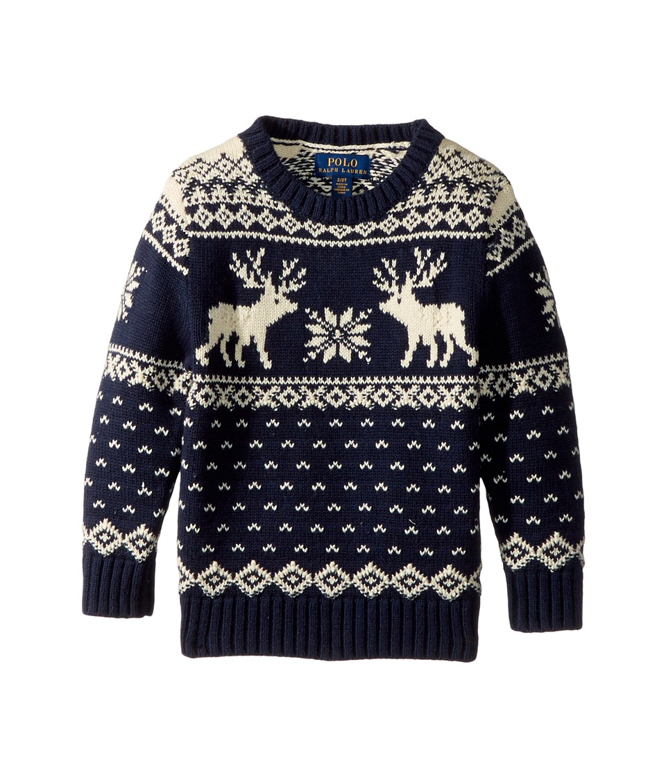 1940s Children's Clothing: Girls, Boys, Baby, Toddler Polo Ralph Lauren Kids - Reindeer Cotton-Wool Sweater Toddler Hunter Navy Multi Boys Sweater $89.50 AT vintagedancer.com